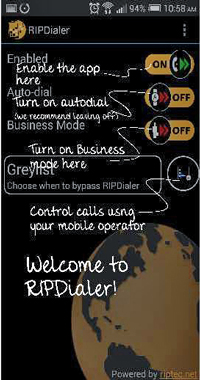 Display you business telephone number from your mobile with RIPDialer